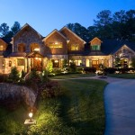 Twilight Exterior photo Front Elevation of Luxury Home in Atlanta