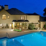 Night Exterior photo of Marietta GA Home with Pool