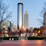 Westin Peachtree Sundial Hotel in Atlanta GA at Twilight