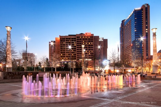 Centennial Park Fountain light show in Atlanta Georgia