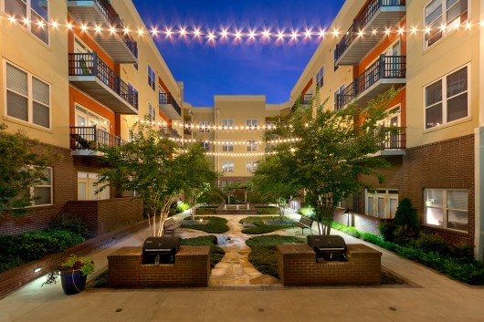 Twilight photo of Atlanta Apartment Courtyard