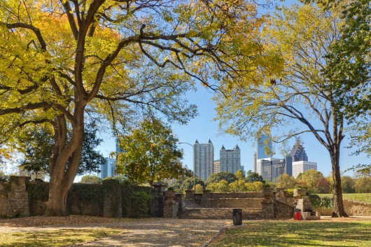 Atlanta stock photography Piedmont Park in Fall with colorful leaves